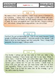 English Worksheets: Test:Part 1: Reading Comprehension