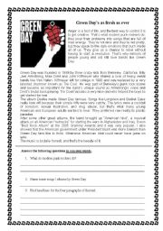 English Worksheet: reading comprehension on Green DAy