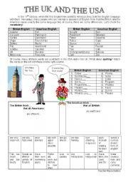 English Worksheet: American English Vs British English