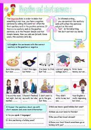 English Worksheet: negative sentences
