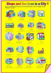 English Worksheet: Shops and Services in a City 1