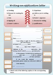 English Worksheet: a letter of application / jobs