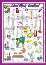 English Worksheet: SCHOOL OBJECTS - CROSSWORD