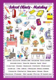 English Worksheet: SCHOOL OBJECTS - MATCHING
