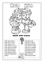 English worksheet: Her or His (printer friendly)