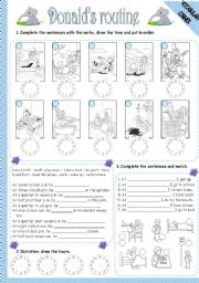 English Worksheets: DONALD�S ROUTINE