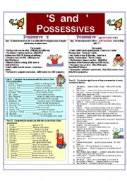 English Worksheet: Possessives:  Apostrophe only vs.  Apostrophe plus