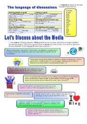 English Worksheet: The language of discussions - The media