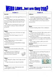 English Worksheet: Weird Laws - Pairwork - must, have to, allowed to, can�t etc.