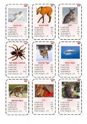 English Worksheets: Top Trump Cards - Predators 1-3