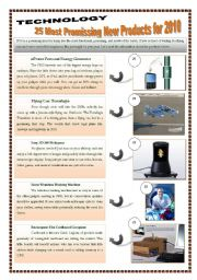 TECHNOLOGY - 25 MOST PROMISSING NEW PRODUCTS FOR 2010 - (5 pages) Reading & writing + 7 extra activities