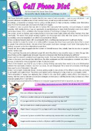 English Worksheets: Cell phone diet - comprehension, writing, grammar, speaking - 4 pages