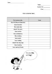 English Worksheets: Fins someone who...