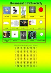 English worksheet: THE ATOM AND CURRENT ELECTRICITY-  VOCABULARY