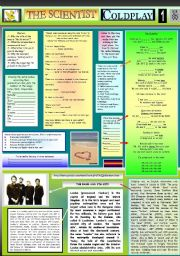 English Worksheet: THE SCIENTIST - COLDPLAY  -  PART 01