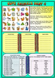 English Worksheet: CUTE ANIMALS PART 4 B&W version with key
