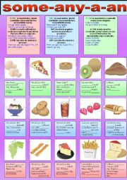English Worksheet: some-any-a-an (countable & uncountable nouns)