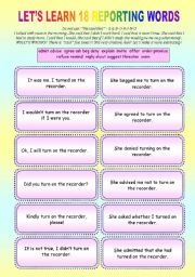 English Worksheet: REPORTING GAMES -  18 verbs with FUN - Cards + Dominoes + 5 Exercises ((16 pages)) Color+BW + KEY