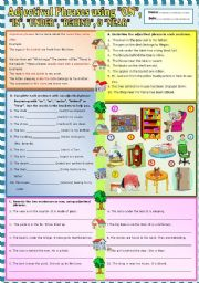 English Worksheet: Adjectival phrases using