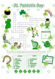 English Worksheet: St. Patrick´s Day crossword