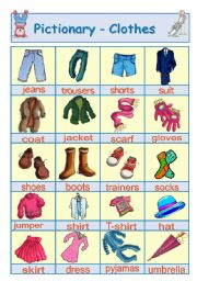 English Worksheet: Pictionary - Clothes + activity
