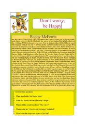 English Worksheets: reading song part 1 don´t worry be happy