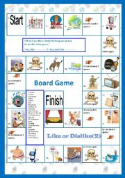 English Worksheets: Like or dislike(part2) :A board Game