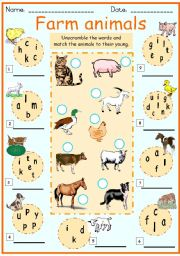 farm animals and their young unscramble the words write it down and ...
