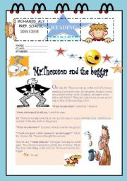 English Worksheets: Reading comprehension about Mr Thomson and the beggar