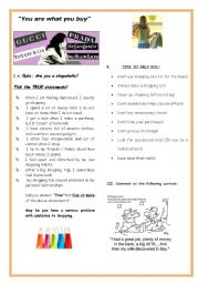 English Worksheet: Conversation/Writing -CONSUMERISM -SHOPPING HABITS