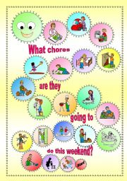 English Worksheet: Household Chores - Boardgame