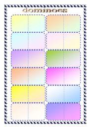 English worksheet: dominoes -  template