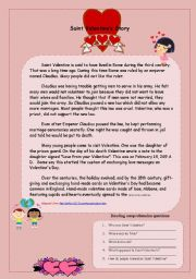 English Worksheets: St. Valentine´s Story