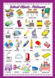 English Worksheet: SCHOOL OBJECTS - PICTIONARY