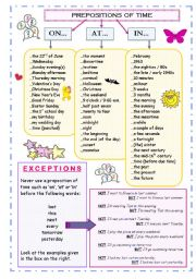 GRAMMAR POSTER / HANDOUT ON PREPOSITIONS OF TIME PLUS WORKSHEET WITH 4 EXERCISES; 5 PAGES; B&W SHEETS AND KEY INCLUDED!!