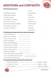 English Worksheet: ADDITIONS and CONTRASTS