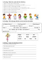 English Worksheet: Practising reading and writing