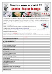 English Worksheet: ENGLISH WITH SONGS #1# - (11 pages) - America YOU CAN DO MAGIC with 10 activities + 1 extra game/Competition