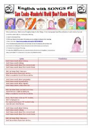 English Worksheets: ENGLISH WITH SONGS #2# - (3 pages) - SAM COOKE - WONDERFUL WORLD (DON�T KNOW MUCH) with 10 activities + 1 extra Activity about Biographies