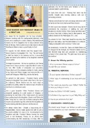 English Worksheet: FAMILY/FATHER´S DAY- 9 REASONS WHY PRESIDENT OBAMA IS A GREAT DAD  +SPEAKING