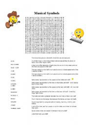 English Worksheets: Music Symbols Word Search