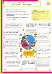 English Worksheet: Reported Speech  -  Questions