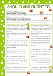 English Worksheet: SHOULD AND OUGHT TO ( 2 pages, editable, with key)