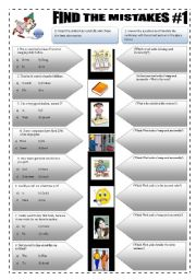English Worksheets: IMPROVING YOUR ENGLISH - (3 pages) FIND THE MISTAKES #1- 8 Sentences + 5 activities + answerkeys