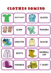 English Worksheets: CLOTHES DOMINO - ELEMENTARY, SET 2