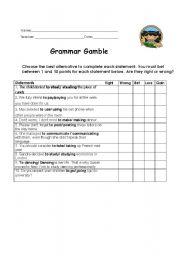 Grammar Gamble with gerund and infinitive