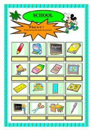 English Worksheets: School - nouns