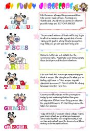 English Worksheet: My Funny Horoscope(2 pages) 12 Signs