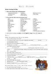 English Worksheets: Wall Street (Film) exercise