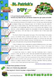 English Worksheets: St. Patrick´s Day Set  (2)  -  Reading Comprehension